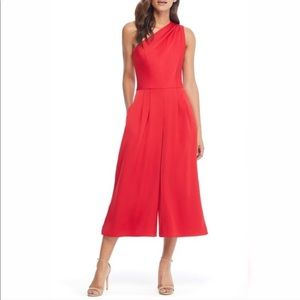 Gal Meets Glam Carmen One Shoulder Crepe Jumpsuit